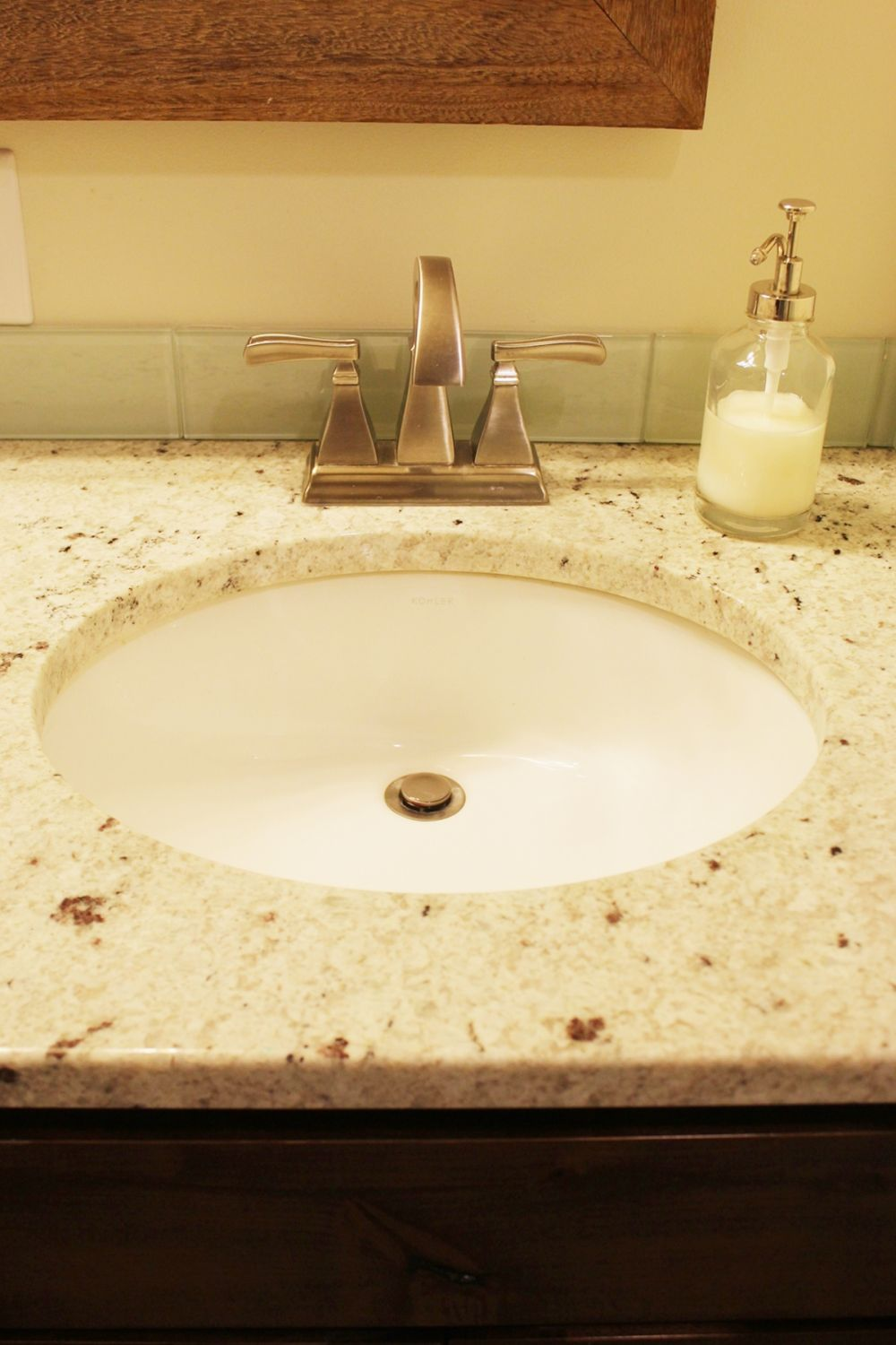 simple under-mount sink and contemporary faucet fixtures