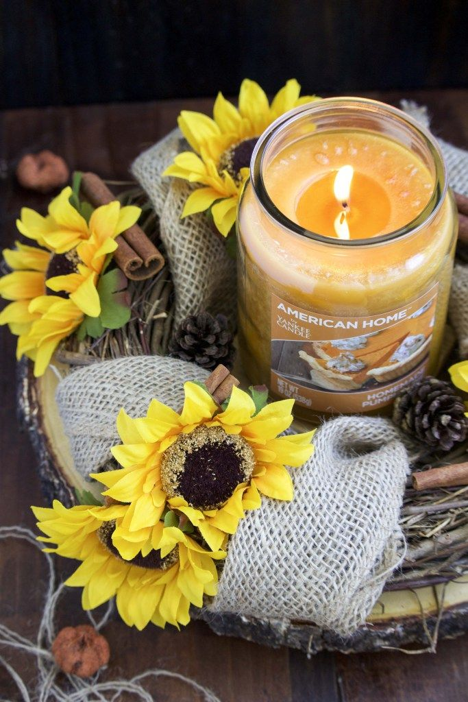 sun flower burlap thanksgiving table centerpiece