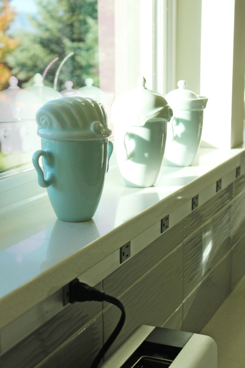 the windowsill behind the kitchen sink