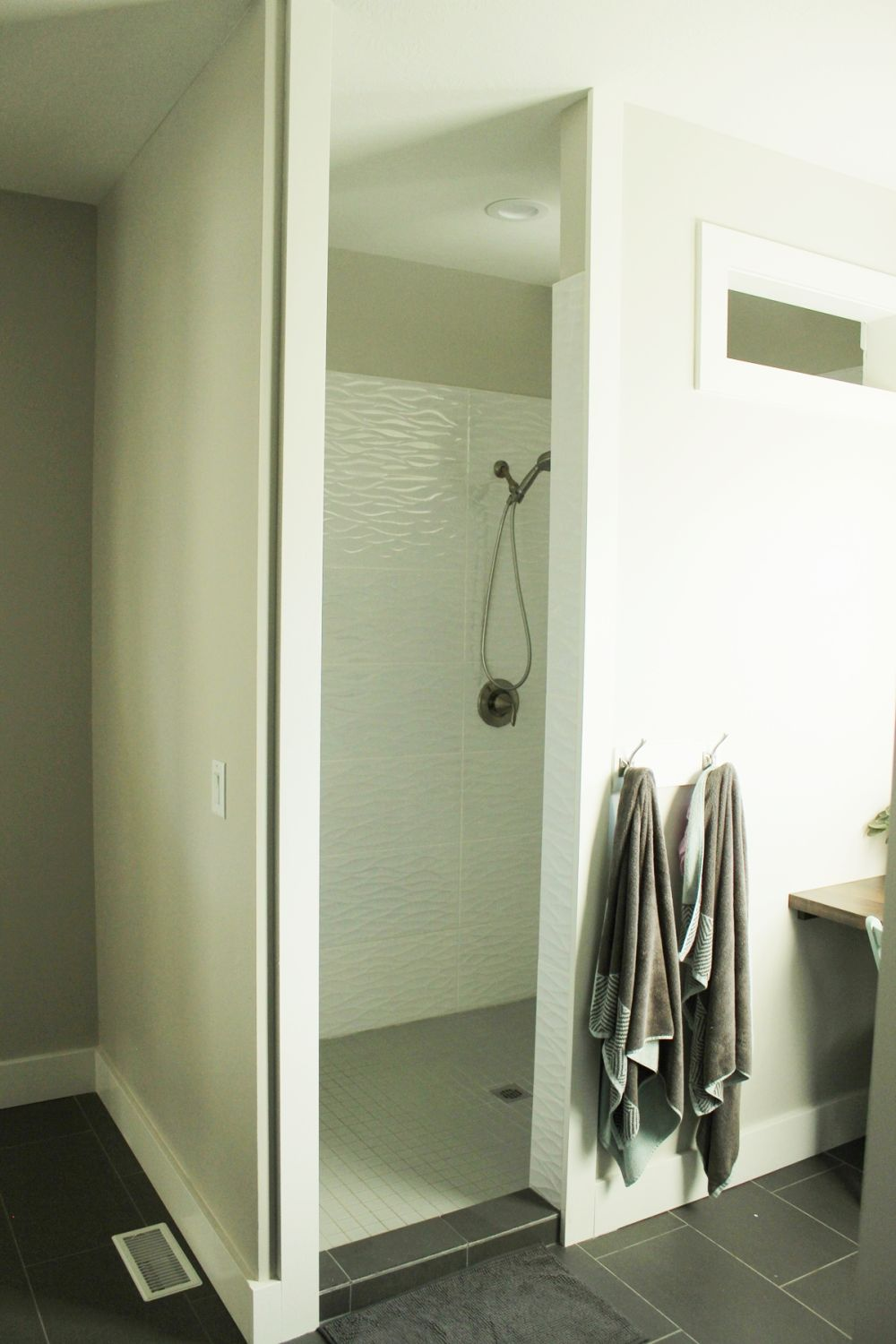 walk-in shower completes the white bathroom