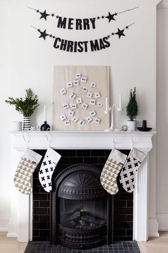 Advent calendar christmas mantel