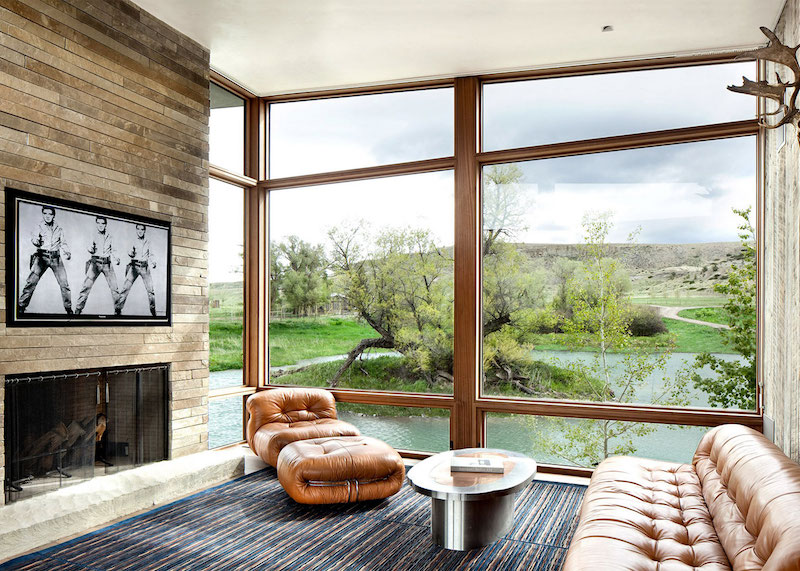 Big Timber Riverside Ranch fireplace lounge