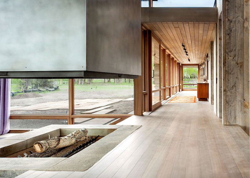 Big Timber Riverside Ranch glass hallway
