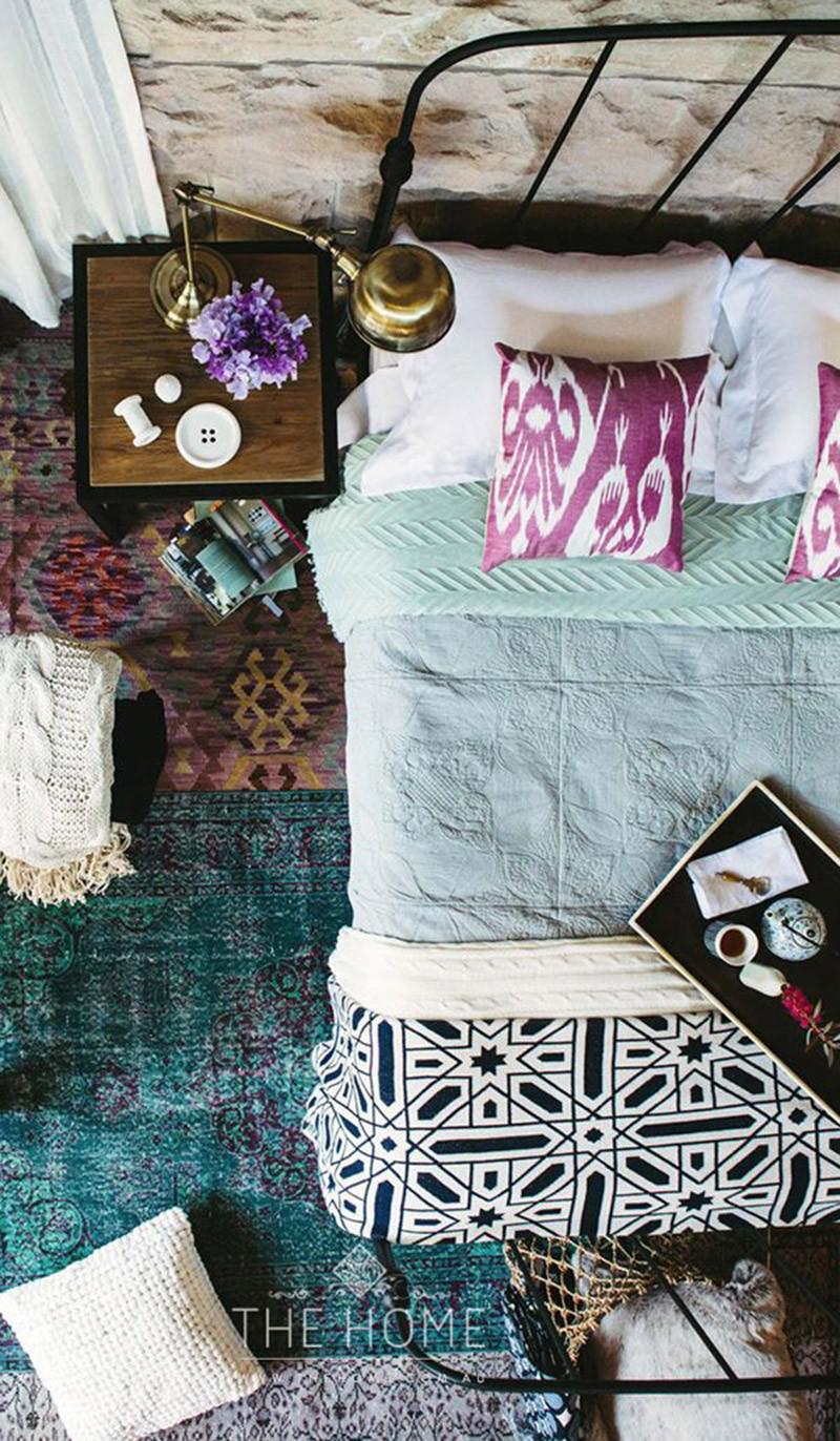 Boho bedroom mixed patterns