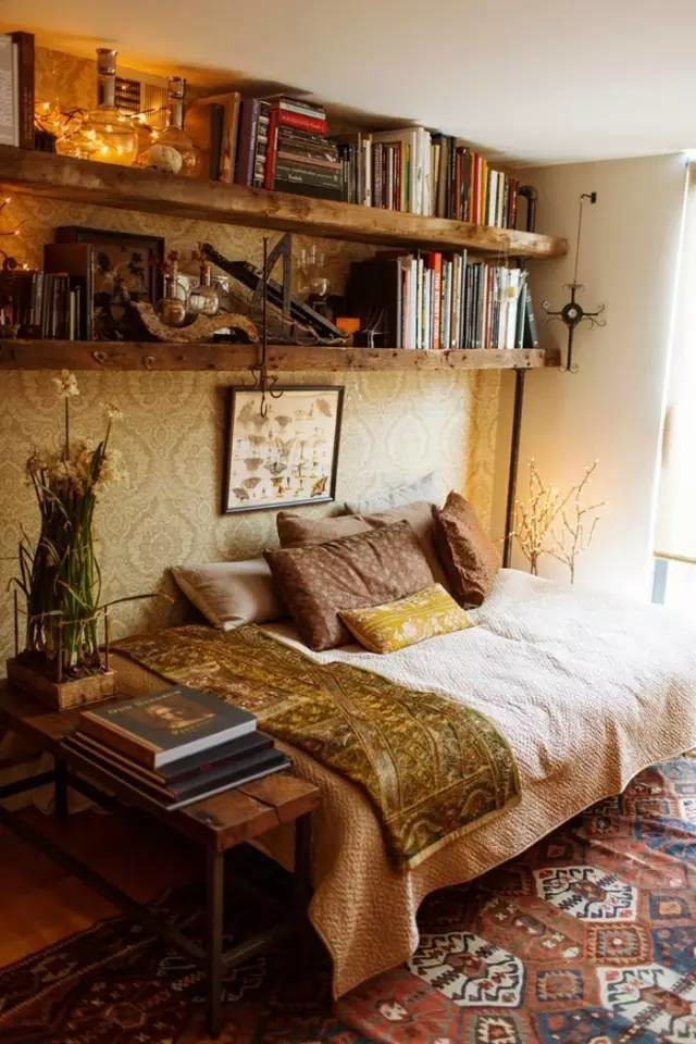Boho bedroom open shelving