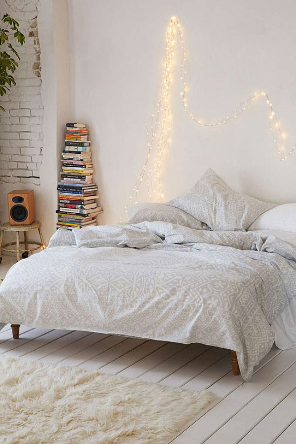 Boho bedroom twinkle lights