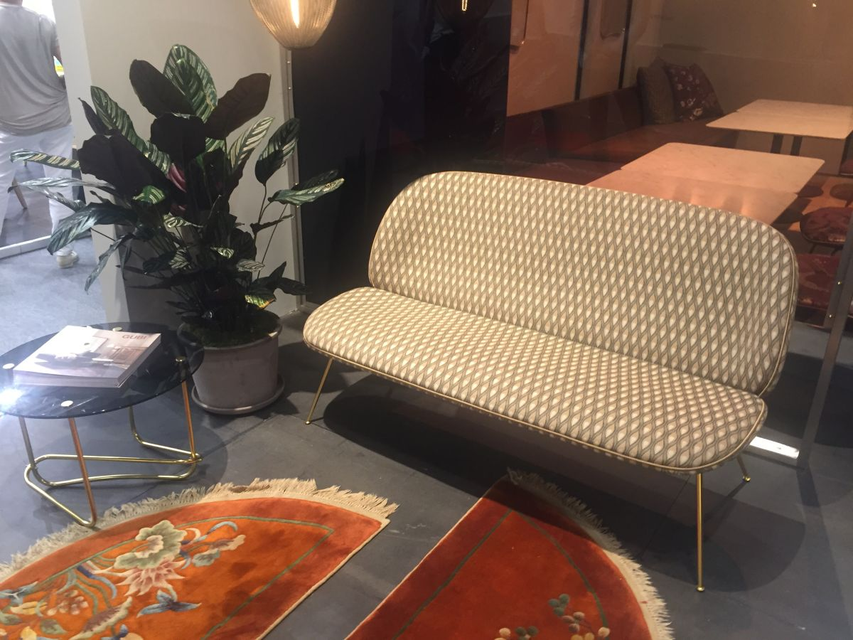 Brass Legs Armless Sofa