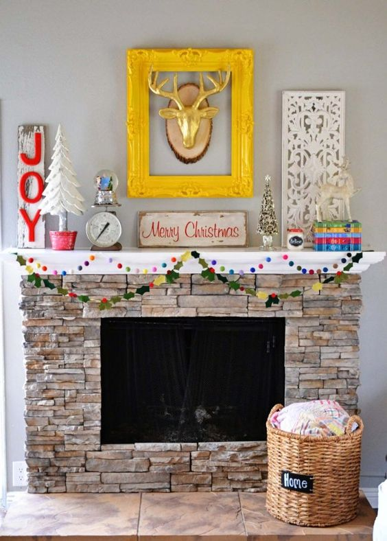 Bright colored christmas mantel