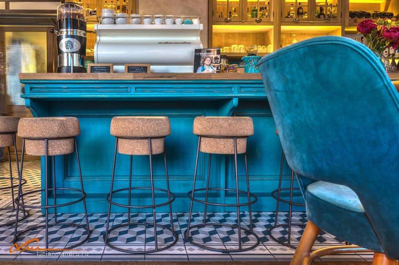 Bujole restaurant cork bar stools