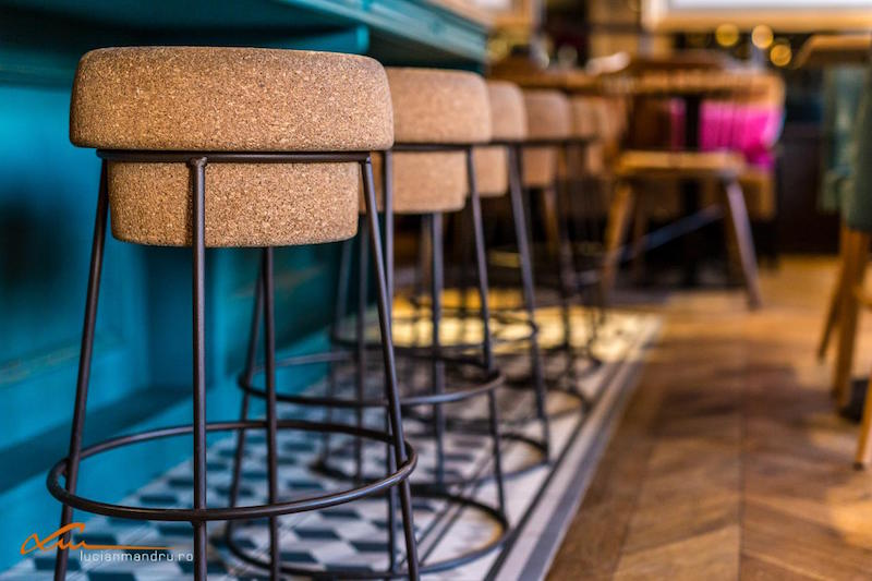 Bujole restaurant cork seat stools