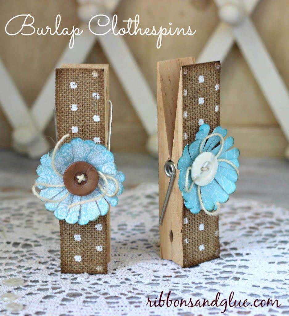Burlap Clothespins