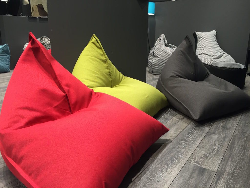 A red, slouchy beanbag is a a casual favorite.