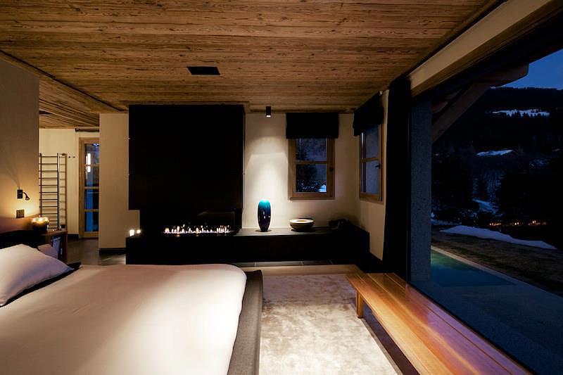 Chalet Cyanella Schlafzimmer Blick in der Nacht