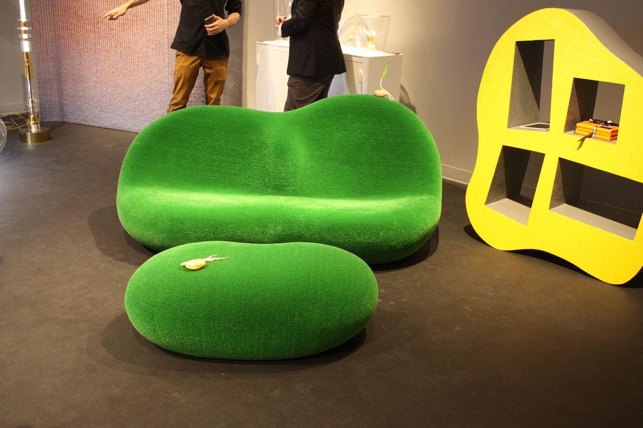 Chamber green sofa ottoman