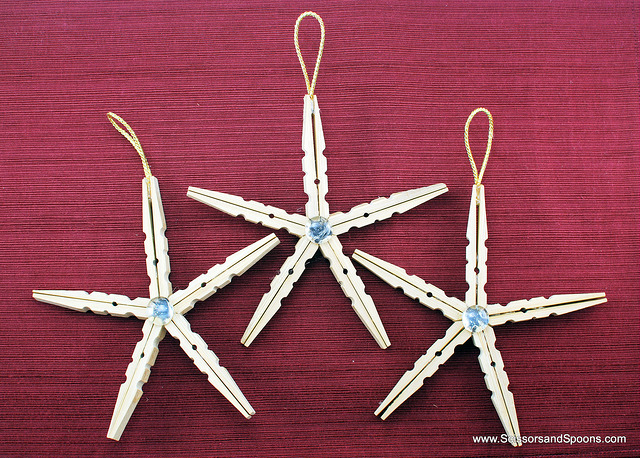 Christmas Ornaments Clothespin Stars