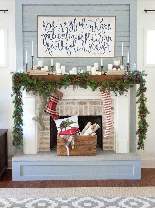 Christmas candle mantel