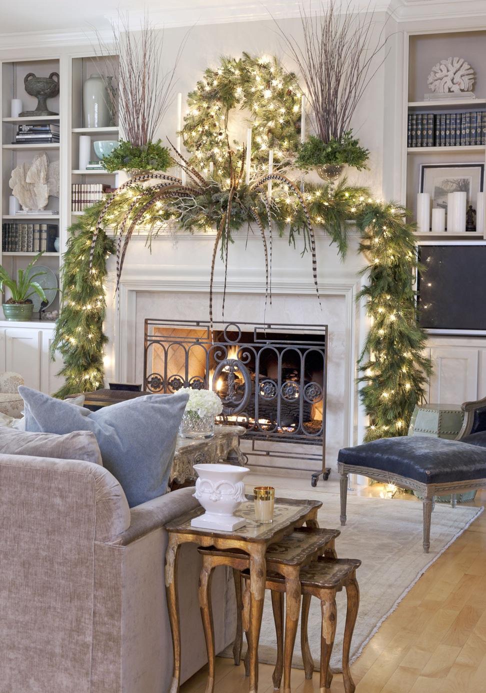 Christmas lights mantel