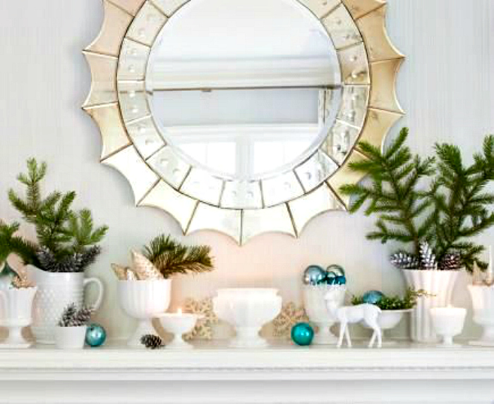 Christmas mantel mirror