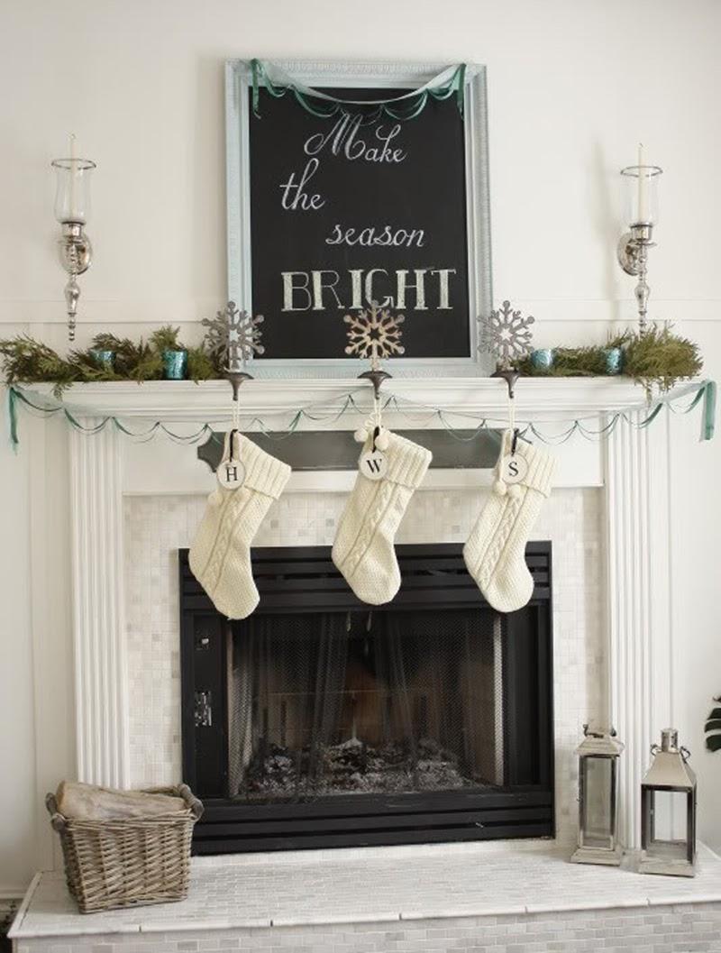 Christmas textures mantel