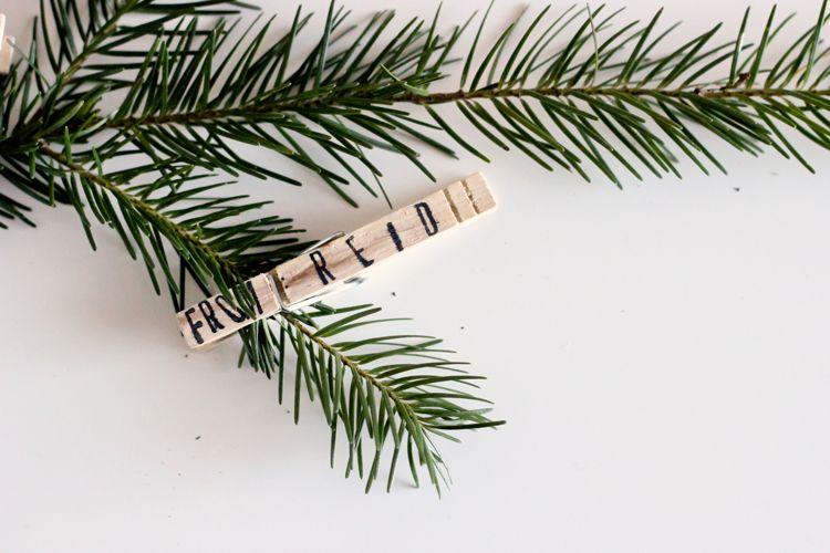Clothespin gift tags