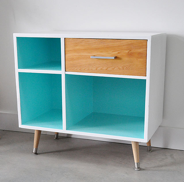 Color block mid century large nighstand