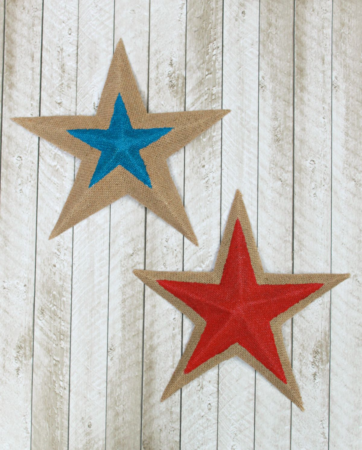 Colorful Burlap Stars