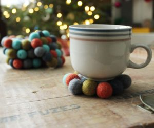 DIY Felt Ball Coasters – A Simple and Sweet Holiday Gift Idea
