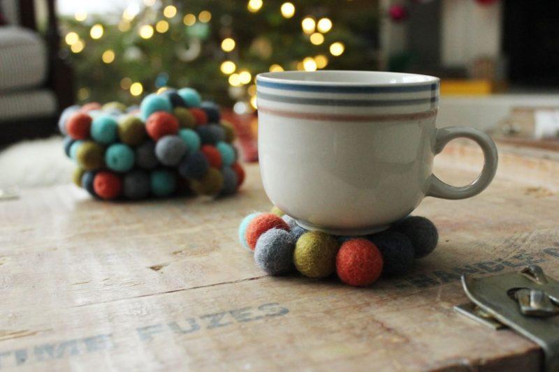 DIY Felt Ball Coasters – A Simple and Sweet Holiday Gift Idea