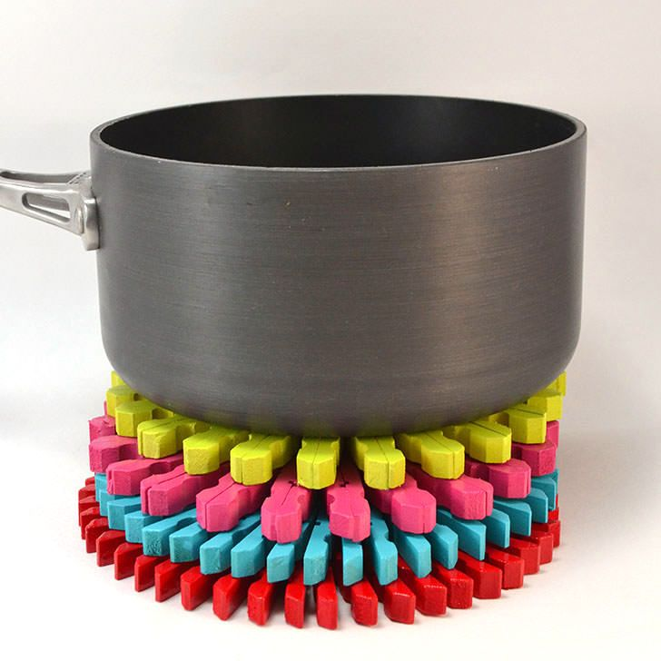 Colorful clothespins trivets