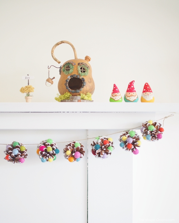 Colorful Pine Cones Garland