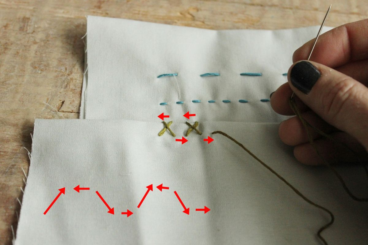 Continue these steps to create a length of catch stitches
