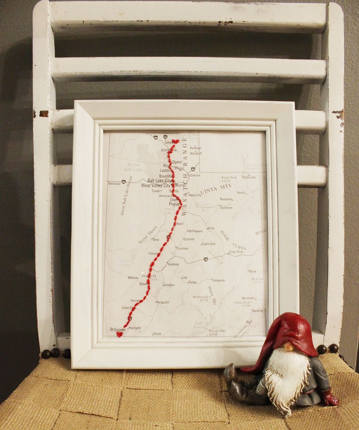 DIY Embroidered Map Christmas Gift