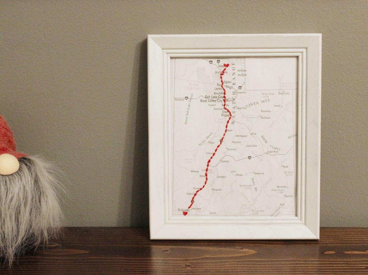 DIY Embroidered Map Gift