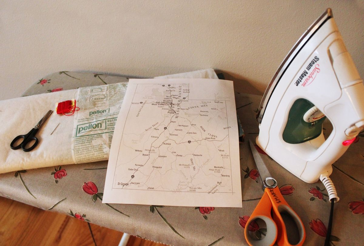 DIY Embroidered Map - Materials
