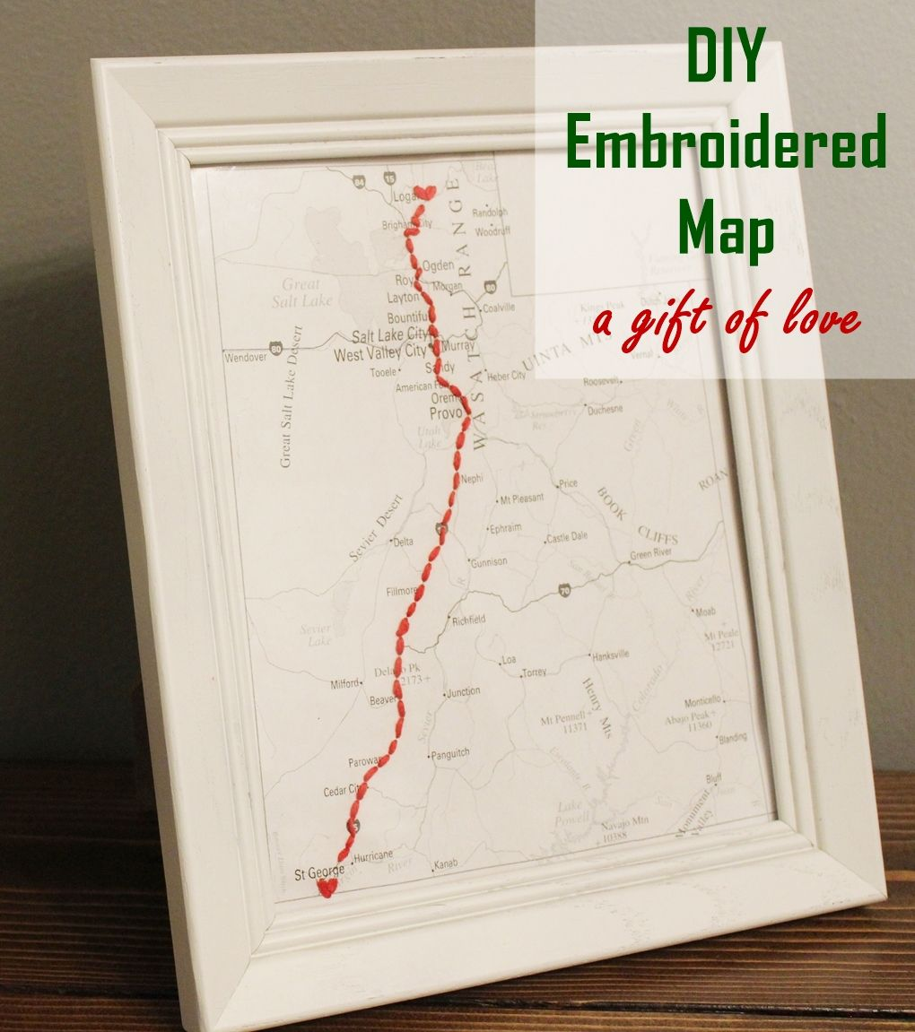 DIY Embroidered Map: The Most Thoughtful GiftEver