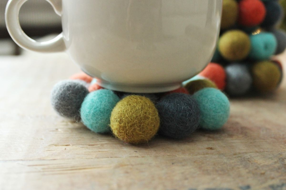 DIY Felt Ball Coasters Project