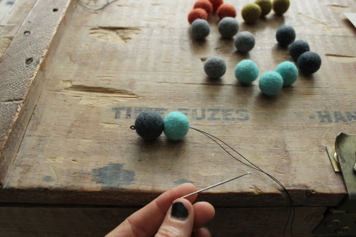 DIY Felt Ball Coasters - attach them