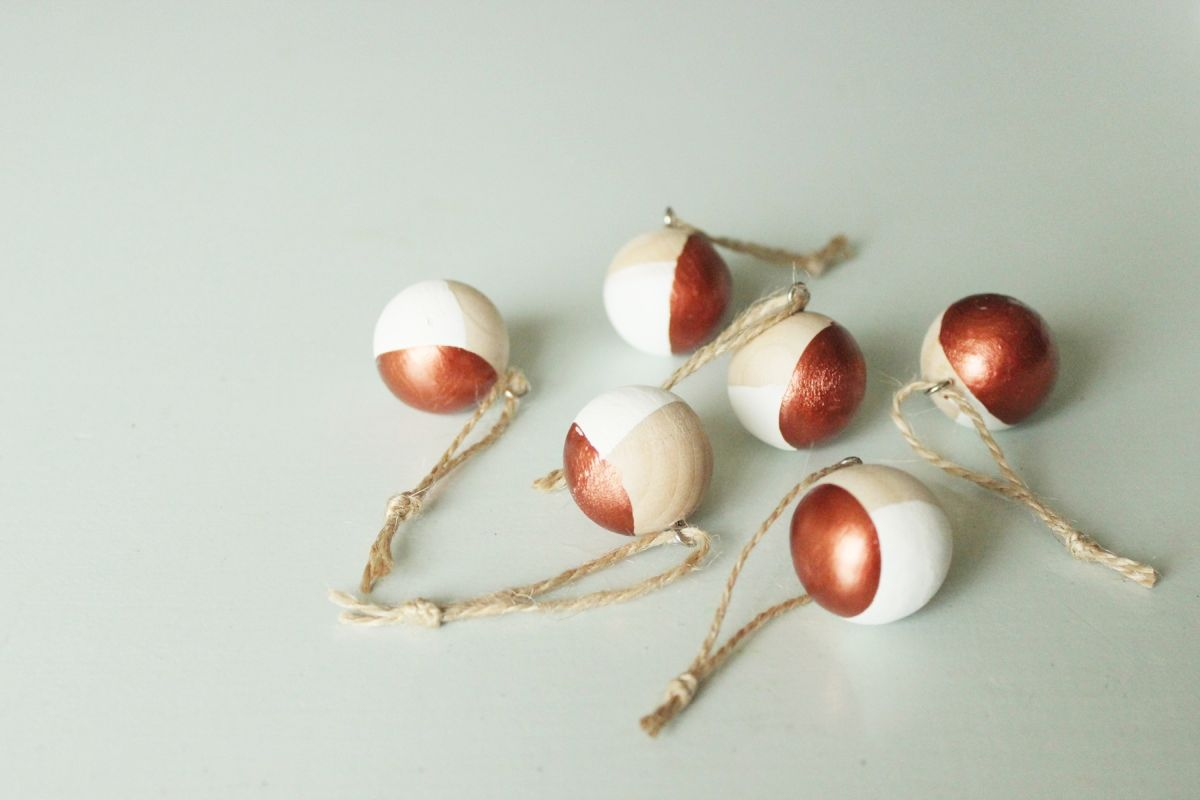 DIY Scandinavian Wooden Ornaments ready to hang