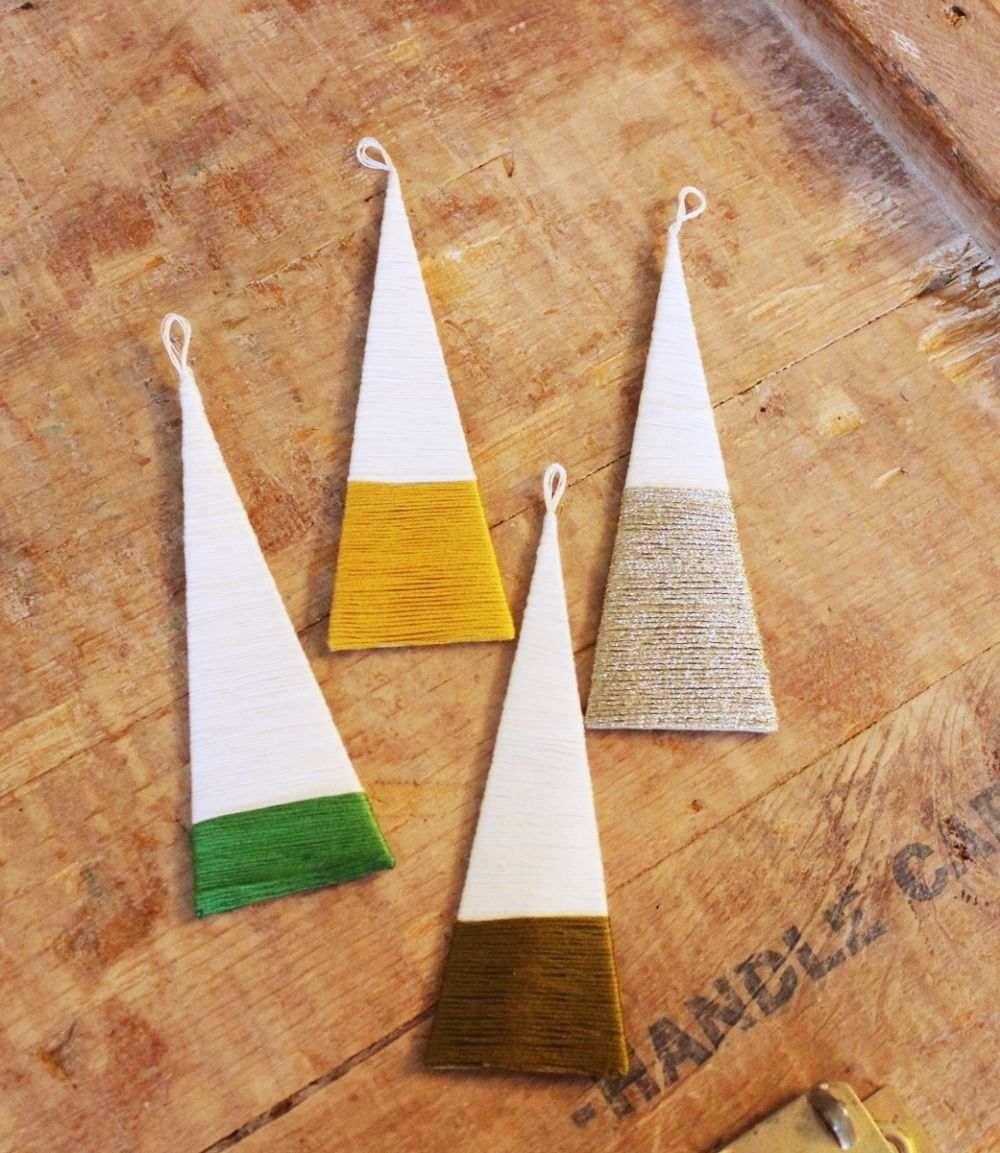 DIY String Tree Ornaments Homemade