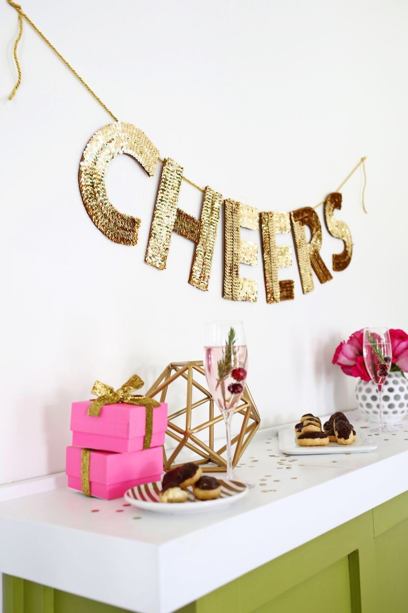 DIY sequin letter design for Christmas