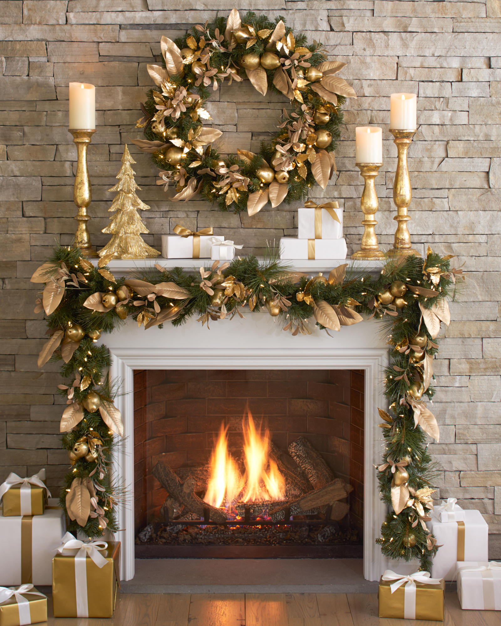 decorate with presents - How To Decorate A Fireplace For Christmas