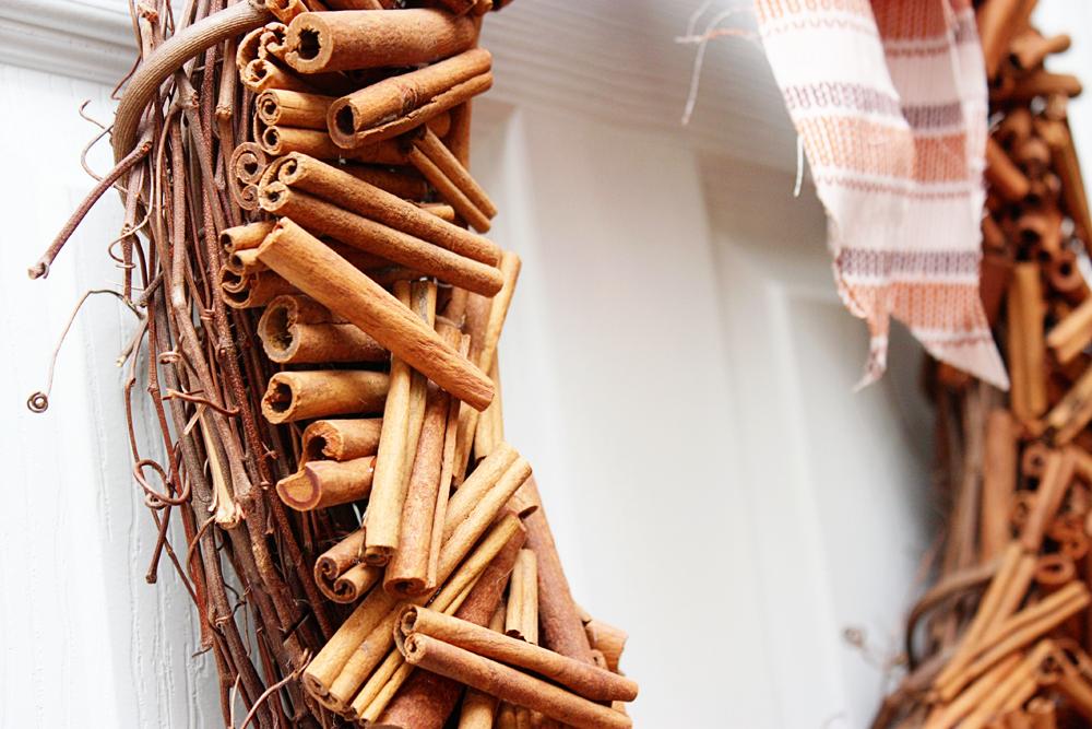 Door wreath from cinnamon sticks