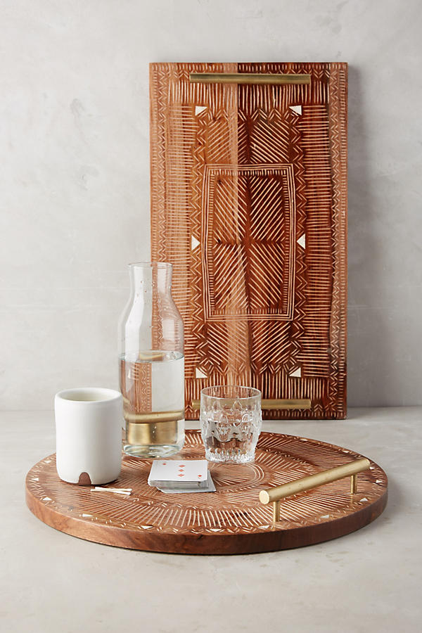 Etched wood tray