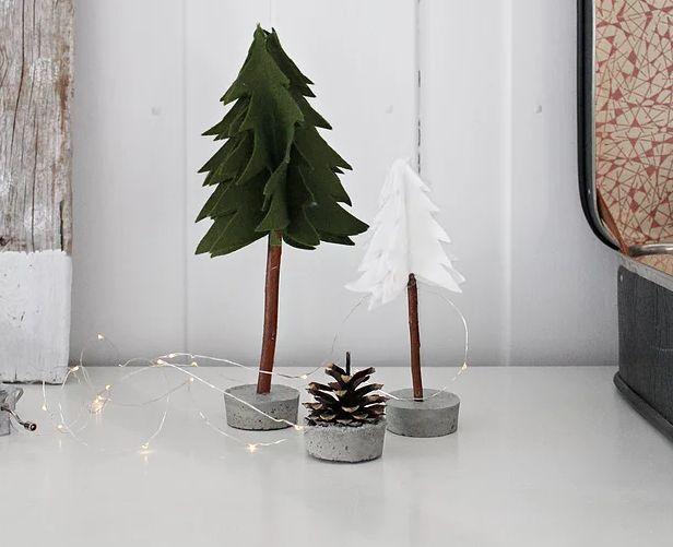 Felt Christmas Tree with Concrete Base