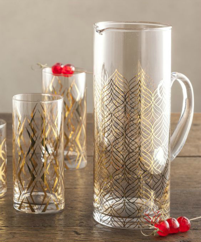 Gilded pattern pitcher
