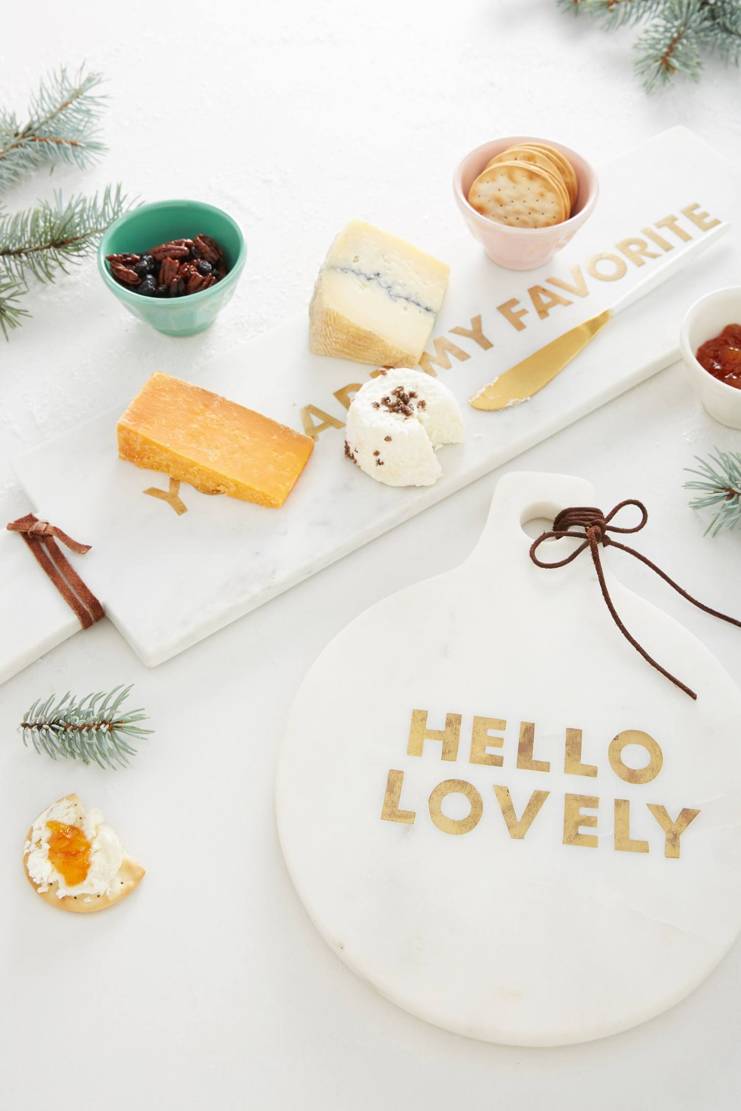 Gilded phrase cheese platter