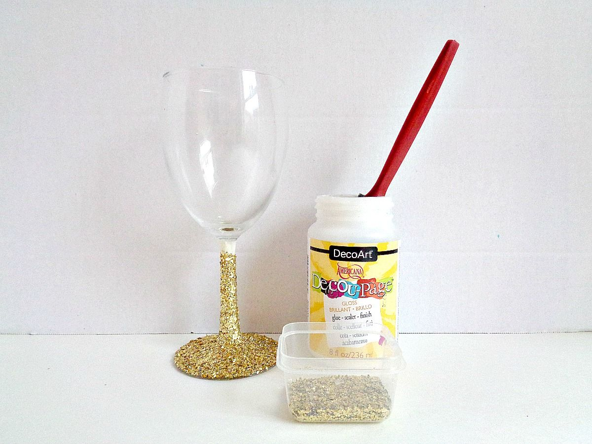 Glittered Wine Glasses - Step 1