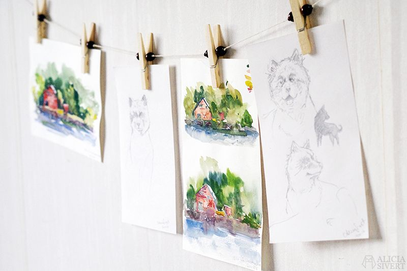 Hanging kids art with clothespin