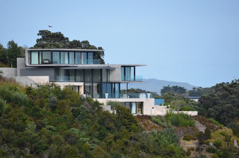 Bay Residence With A Tiered Design And A Concrete Shell
