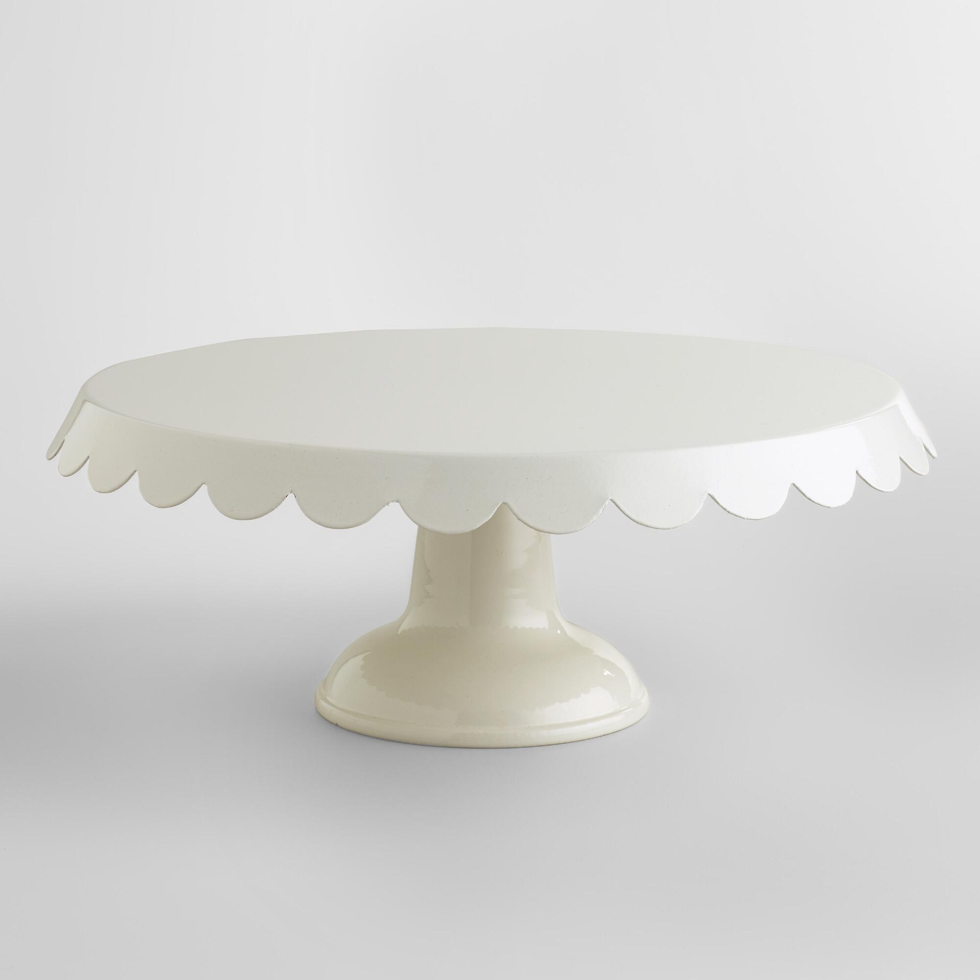 Ivory scalloped cake stand